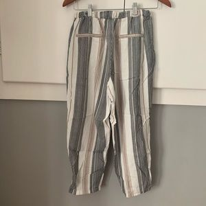 Striped soft crop pants